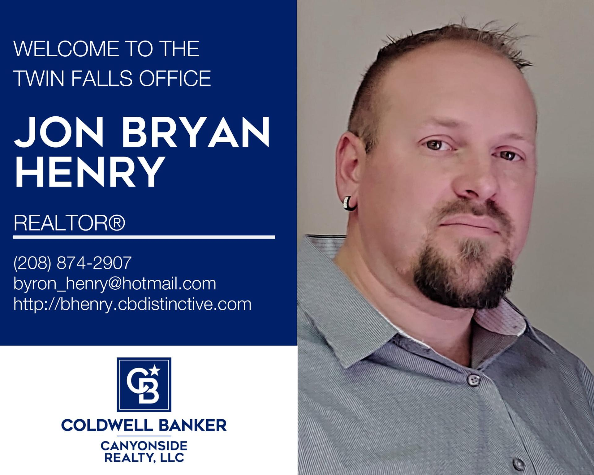 Please help us welcome Jon Bryan Henry to Coldwell Banker Canyonside Realty! Main Photo