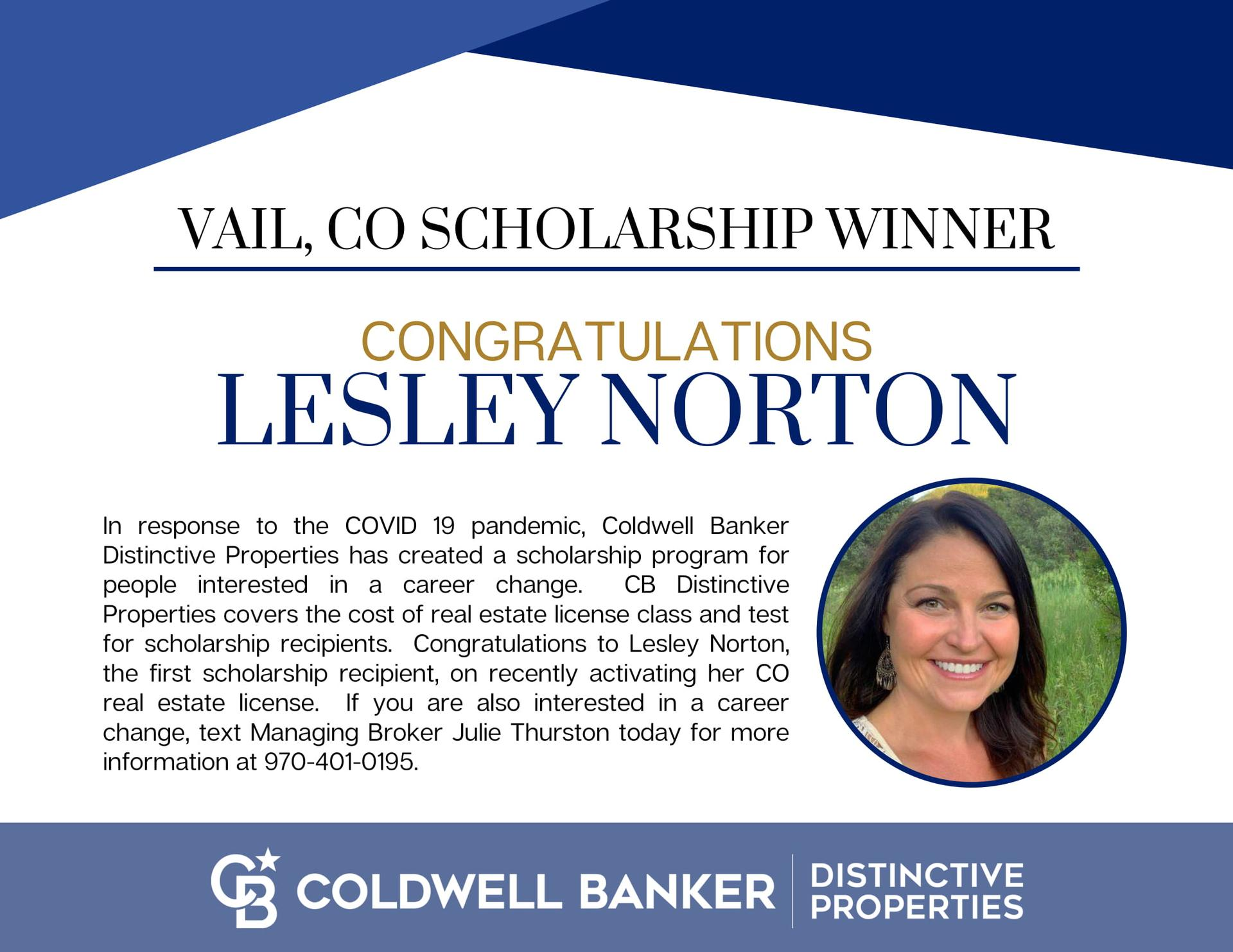 Congratulations Lesley Norton on being our first Scholarship Winner- Main Photo