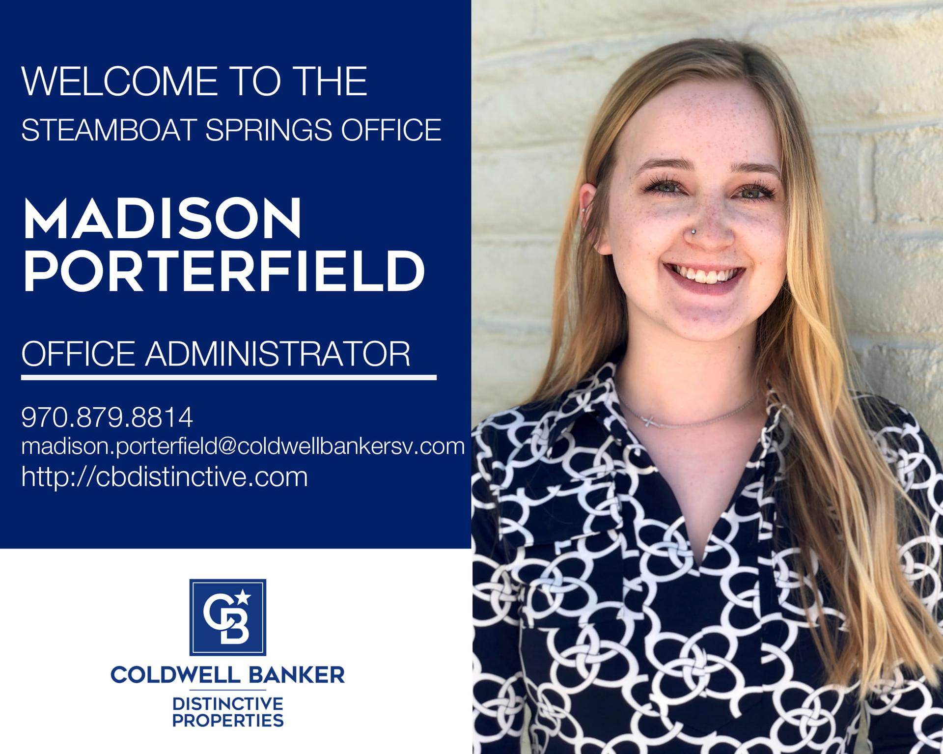 We are excited to have Madison Porterfield join our Coldwell Banker family as our Office Administrator! Main Photo