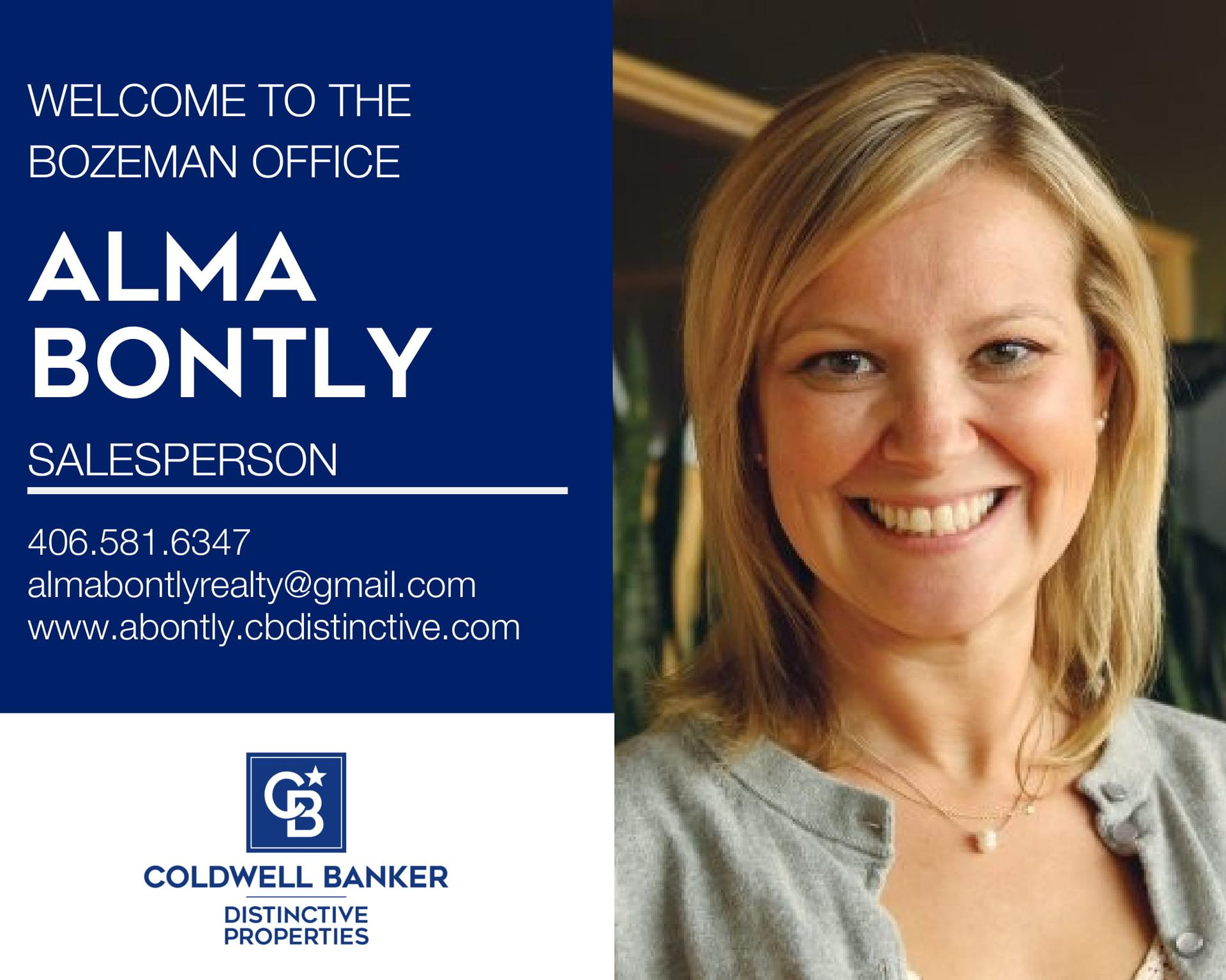 Please help us welcome Alma Bontly to our Coldwell Banker family! Main Photo