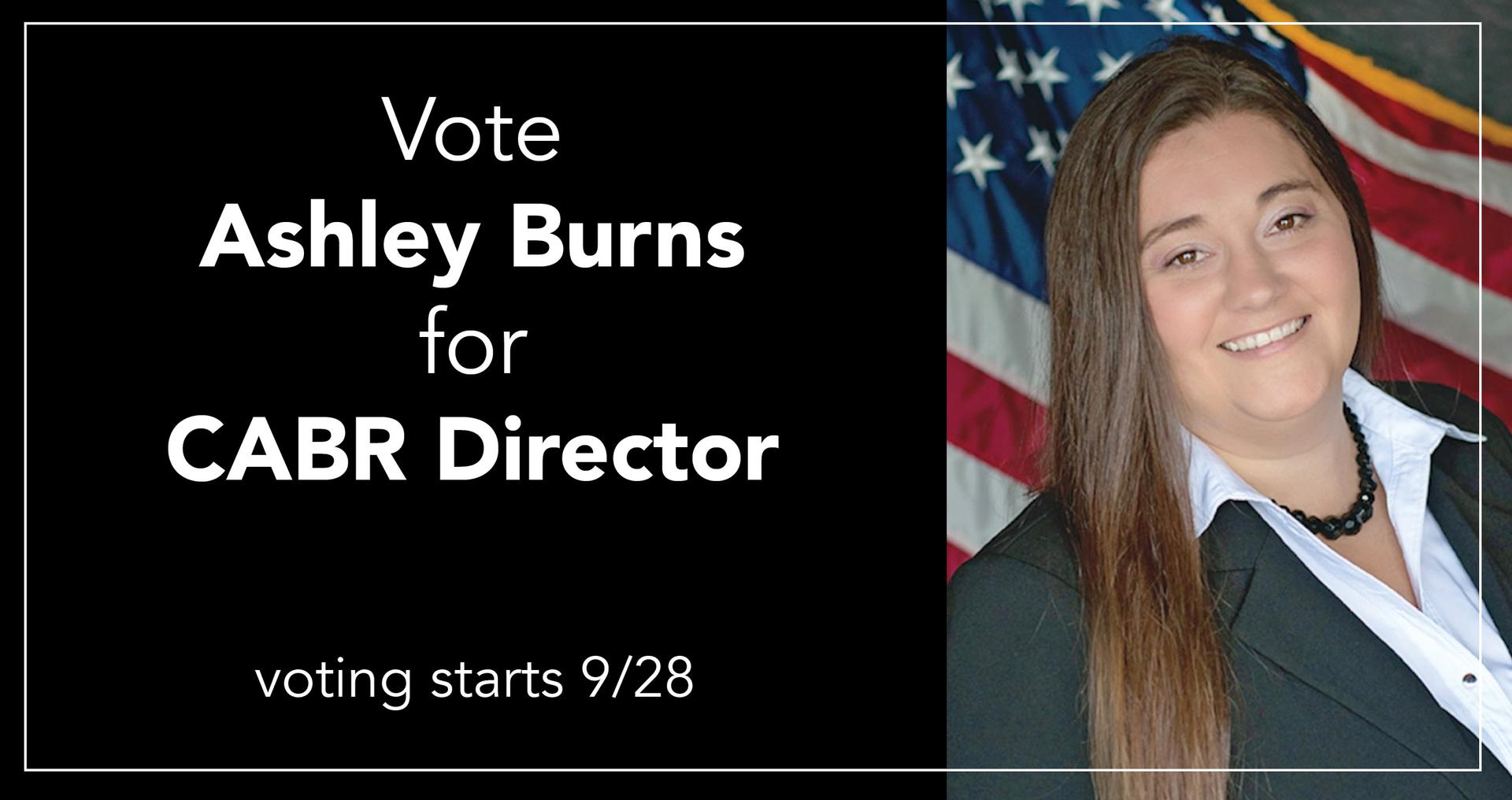 Hello! I'm Ashley Burns and I'm running for CABR Director Main Photo
