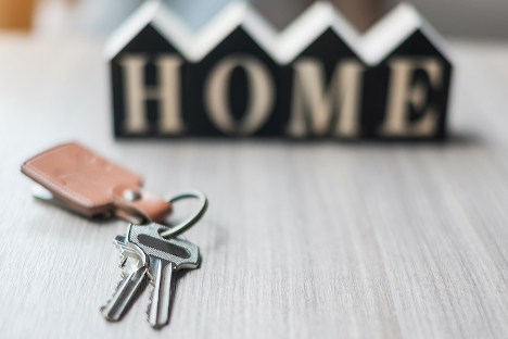 Image of a set of brand new house keys for a new homeowner