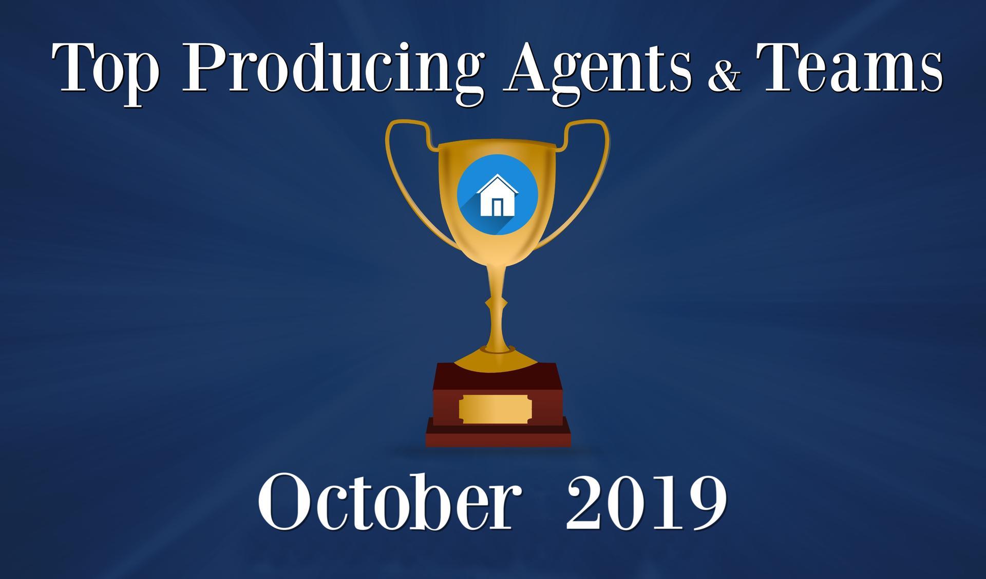 CONGRATULATIONS Top Agents and Teams - October 2019 Main Photo