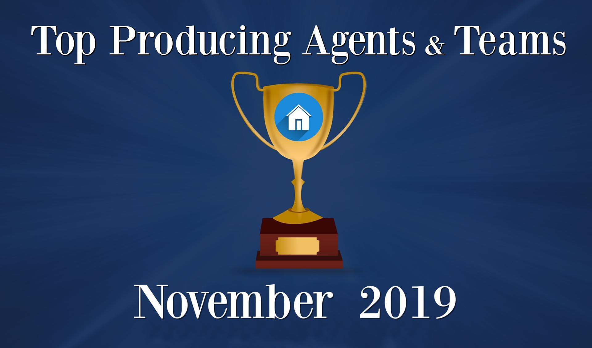 CONGRATULATIONS Top Agents and Teams - November 2019 Main Photo