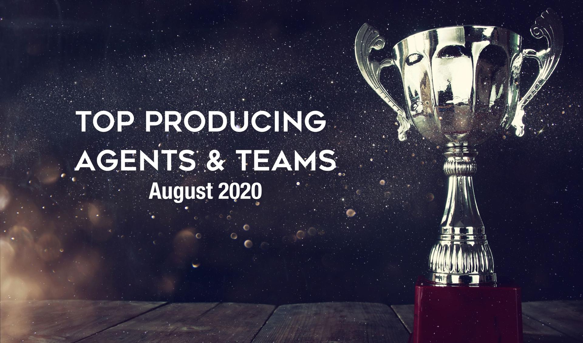 CONGRATULATIONS Top Agents & Teams - August 2020 Main Photo