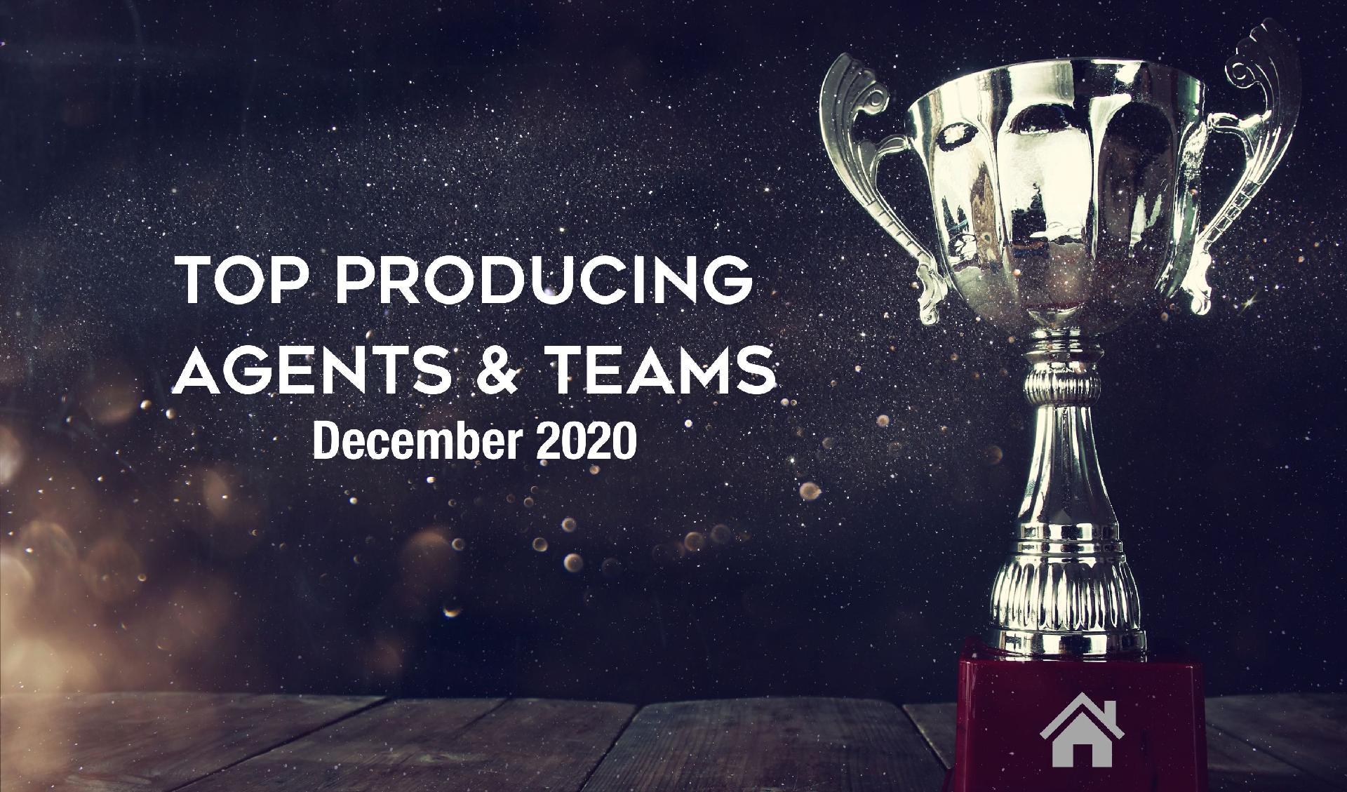 CONGRATULATIONS Top Agents & Teams! - December 2020 Main Photo