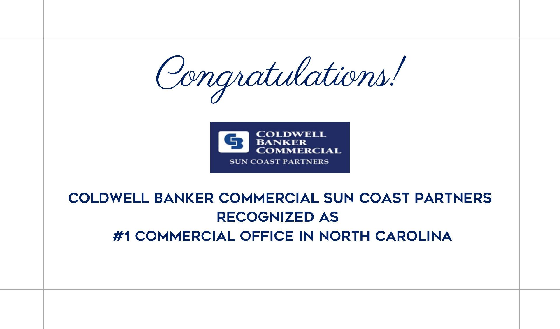 Coldwell Banker Commercial Sun Coast Partners Recognized as #1 Commercial Office in North Carolina! Main Photo
